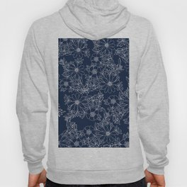 Artistic hand painted navy blue white modern floral Hoody
