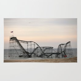 Jet Star Roller Coaster in Ocean After Hurricane Sandy Rug
