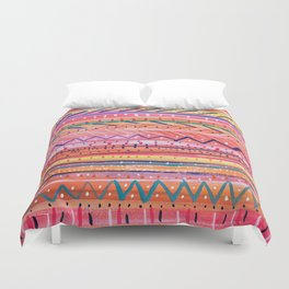 Hand painted Bright Patterned Stripes Duvet Cover