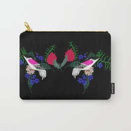 Sgraffito Birds - Bright Fuchsia Botanical Birds and Flowers Carry-All Pouch