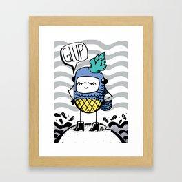 Pineapple in the sea Framed Art Print