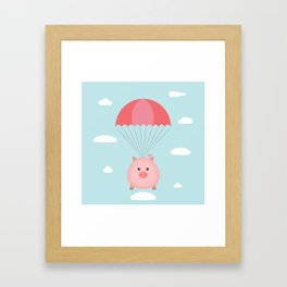 Baby Pig in a Parachute Framed Art Print