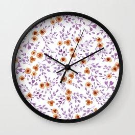 Prairie Flowers - Watercolor Floral Purple Copper Brown Wall Clock