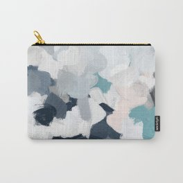 Navy Indigo Blue Blush Pink Gray Mint Abstract Air Clouds Art Sky Painting Carry-All Pouch