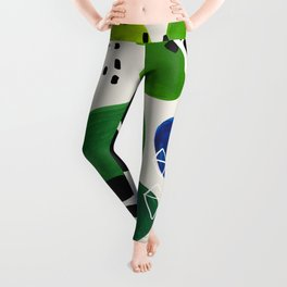 Fun Abstract Minimalist Mid Century Modern Colorful Shapes Lime Green Blue Watercolor Bubbles Leggings