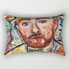 mac miller,rip,kids,drawing,painting,sketch,colourful,colorful,lyrics,rap,hiphop,art,poster,fan Rectangular Pillow
