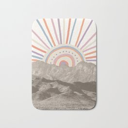 Summerlin Mountain Up // Abstract Vintage Mountains Summer Sun Surf Beach Vibe Drawing Happy Wall Ha Bath Mat
