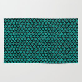Mermaid Glam // Turquoise Glitter Watercolor Scales on Charcoal Chalkboard Rug