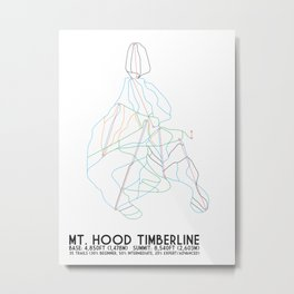 Mt. Hood Timberline, OR - Minimalist Trail Maps Metal Print