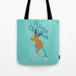 Mr Reindeer having Fun with his Penny-farthing Bicycle Tote Bag