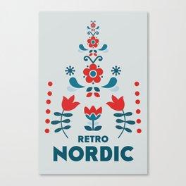 Retro Nordic Folk Canvas Print