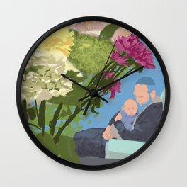 David, Lyova, Flowers Pillow Clock Wall Clock