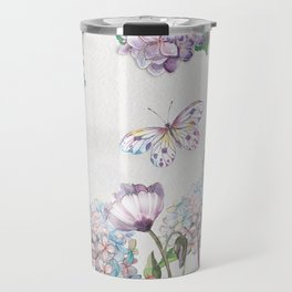 Watercolor Garden Flowers and Butterfly Travel Mug