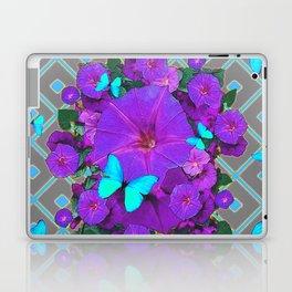 Shimmering Blue Butterflies  Purple Floral Art Laptop & iPad Skin