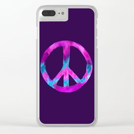 Purple Turquoise Watercolor Tie Dye Peace Sign on Purple Clear iPhone Case
