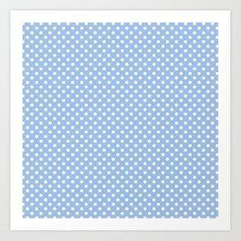 Minimalist White Polka Dots On Baby Blue Art Print