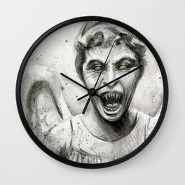 Weeping Angel Watercolor Wall Clock