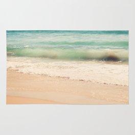 beach. Sea Glass ocean wave photograph. Rug