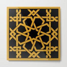 Black and Yellow Islamic Geometric Art Metal Print