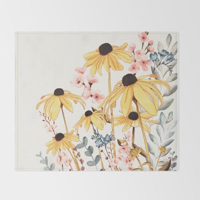Summer Flowers Throw Blanket