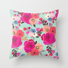 Sweet Pea Floral Aqua Throw Pillow