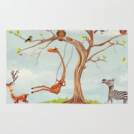 Tree with animals.Bunch of cute little creatures gathered on the branches of tree Rug