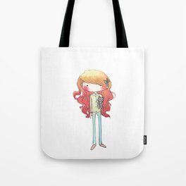 Little redhead with a kitten Tote Bag