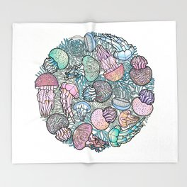 Jellyfishes Throw Blanket