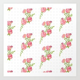 Polka Dot Floral Art Print