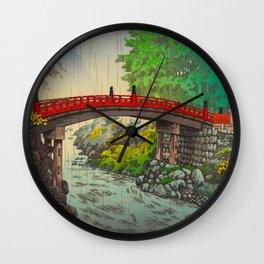 Vintage Japanese Woodblock Print Garden Red Bridge River Rapids Beautiful Green Forest Landscape Wall Clock