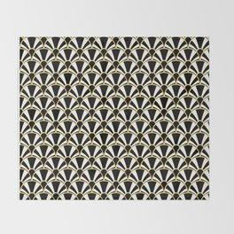 Black, White and Gold Classic Art Deco Fan Pattern Throw Blanket