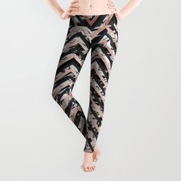 Black and White Marble and Rose Gold Chevron Zigzag Leggings
