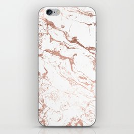 Modern chic faux rose gold white marble pattern iPhone Skin