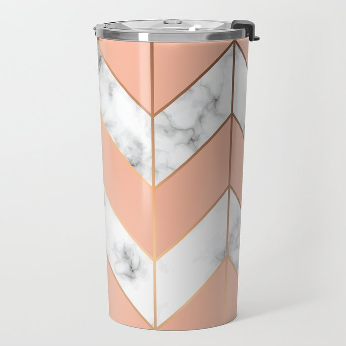 Marble texture, seamless pattern design with golden geometric lines Travel Mug