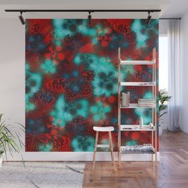 Red butterflies in turquoise fog Wall Mural