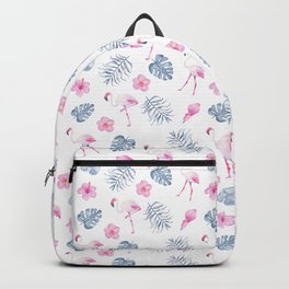 Modern watercolor blue pink tropical flamingo floral Backpack