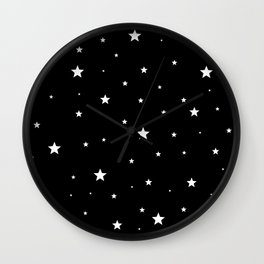 Scattered Stars - white on black Wall Clock