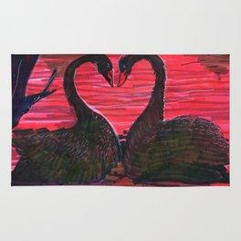 black swan in the darkness Rug