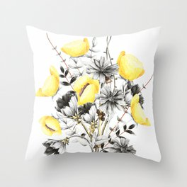 Poppies And Chicory Wildflower Bouquet Throw Pillow