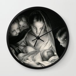 The Nativity, Virgin Mary with Infant Jesus surrounded by Angels Wall Clock