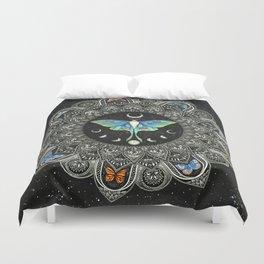 Lunar Moth Mandala with Background Duvet Cover