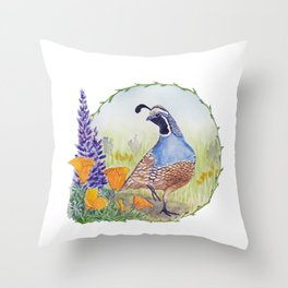California Quail with Poppies and Lupine Throw Pillow