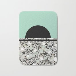 Abstract Concrete and Marble Terrazzo Stone Pastel Green Bath Mat