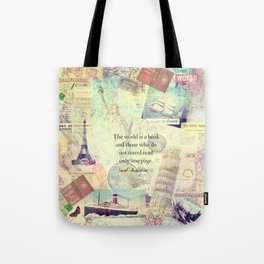 The world is a book TRAVEL QUOTE Tote Bag