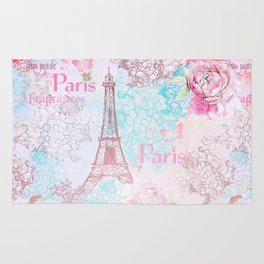 I love Paris - Vintage  Shabby Chic in pink - Eiffeltower France Flowers Floral Rug