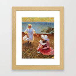 THE SISTERS - Reproduction of American Impressionist Frank Benson painting from 1899 Framed Art Print