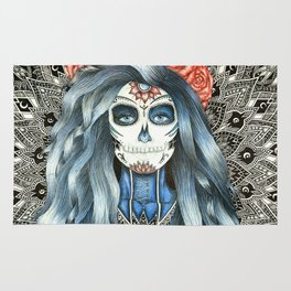 Full Page Day of the Dead Woman Mandala Rug