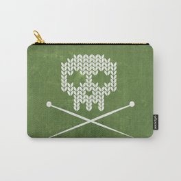 Knitted Skull - White on Olive Green Carry-All Pouch