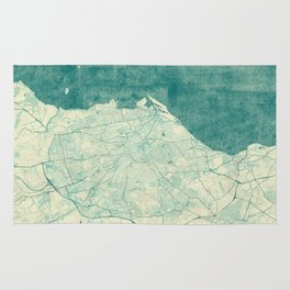 Edinburgh Map Blue Vintage Rug