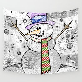Coloured Snowman Wall Tapestry